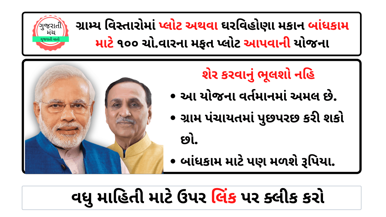MAfat 100 square foot Plot Yojana In Gujarat
